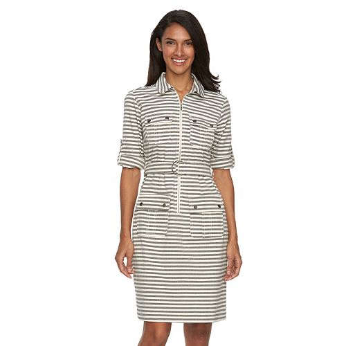 Sharagano Striped BeltedShirtdress