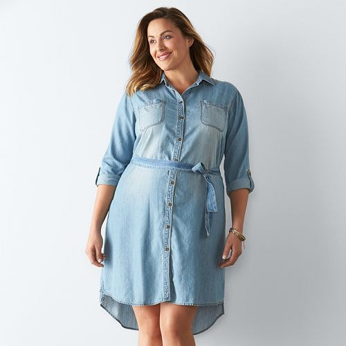 Plus Size Button-Down Shirt Dress