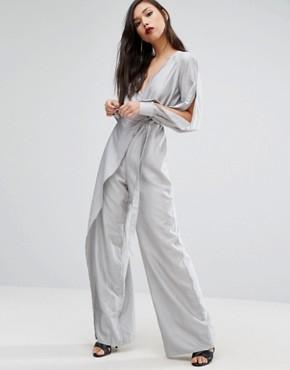 Stylestalker Wide Leg Jumpsuit With SplitSleeves