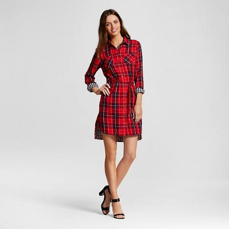 Plaid Double Weave Shirt Dress