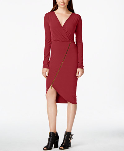 Rachel Roy Asymmetrical-Zip Jersey Dress