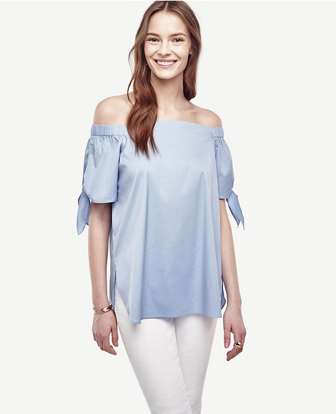 Poplin Off The Shoulder Blouse