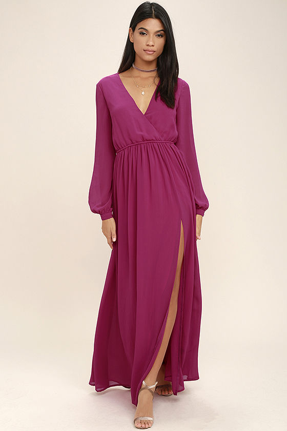 Wondrous Water Lilies Magenta Long Sleeve Maxi Dress